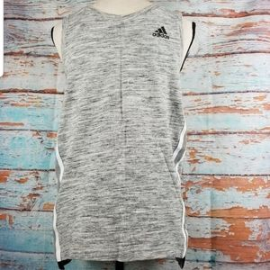 Adidas heather gray white stripe basketball tank